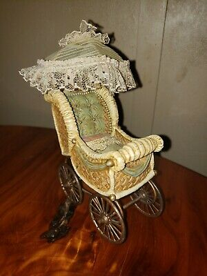 Hand-Crafted Ceramic Carriage Baby Doll Buggy with Parasol Umbrella Pram Cart