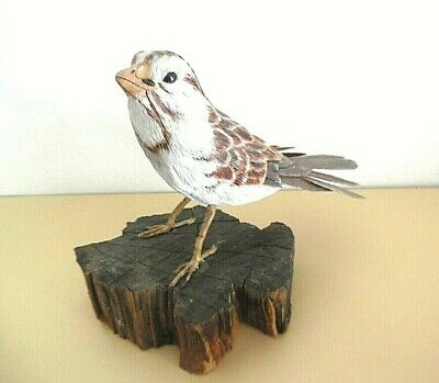 """Hand-Carved Bird """"White Throated Sparrow"""" Hand-Painted OOAK Realistic Signed"""