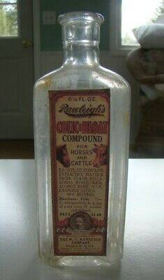 Vintage Rawleigh's Colic & Bloat Compound for Horses & Cattle- Repro Bottle