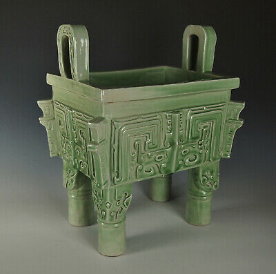 LARGE CHINESE CELADON PORCELAIN FANG DING CENSER Qing Dynasty Archaistic Antique