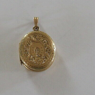 Antique Early Victorian Oval Etched Gold Filled Locket Vintage Photo Glass Frame