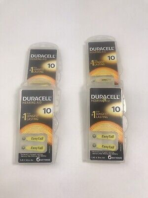 Duracell Activair Mercury Free Hearing Aid Batteries Size 10 YELLOW 4 Packets