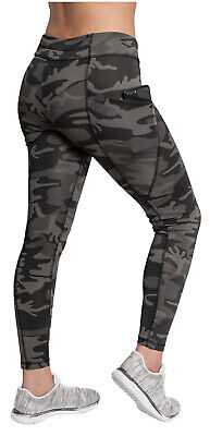 Womens Performance Work Out Pants Dark Camo Leggings With Pockets Rothco 4890