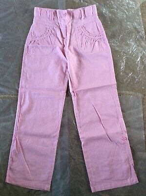 George Girls Cotton & Linen Pink High Waist Summer Trousers Age 11-12 Years