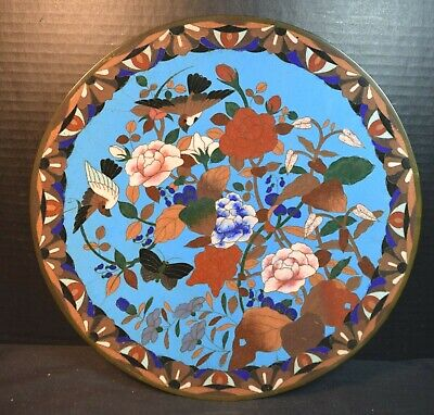Antique Japanese Cloisonne Tray With Flowers, Birds and Butterfly
