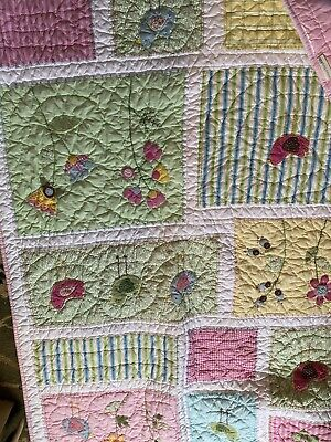 Pottery Barn Kids Crib Quilt/wall Hanging Birds Flowers Pink Green