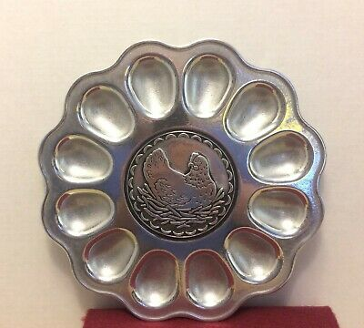 Wilton Armetale Deviled Egg Serving Platter Plate Pewter Chicken 11 Inch