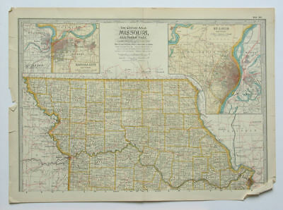 MISSOURI Northern Part Map The Century Atlas 1897 Plate 30 St Louis Kansas City