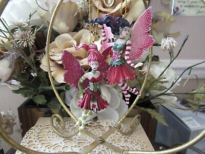 2-piece AMY BROWN POINSETTIA Fairy Figurine Ornaments NEW by Pacific Giftware