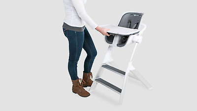 4Moms High Chair Magnetic Tray Top Adjustable Height Kids Highchair White Grey