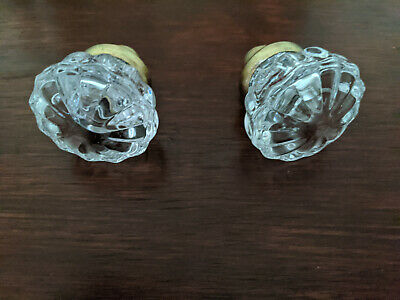 victorian glass door knobs with rosette design (gold finish)