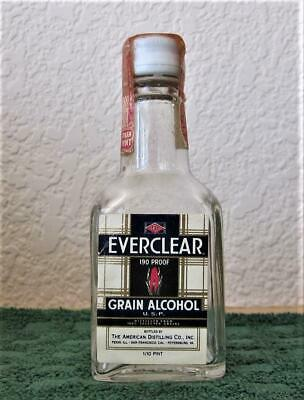 RARE EVERCLEAR Grain Alcohol  Mini Bottle Tax Stamp Intact 100% Evaporated Empty