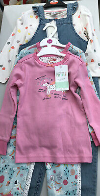 Girls Two Pack Pjs And Dungarees Age 3-4 Years
