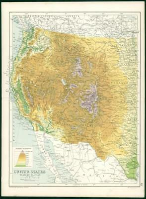 1912 Original Colour Antique Map - UNITED STATES WESTERN SECTION  (70)
