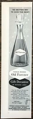 1955 Old Forester Kentucky Bourbon Holiday PRINT AD Raymond Loewy Gift Decanter