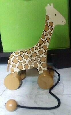 CHILDS WOODEN GIRAFFE PULL TOY Great for Nursery Deco