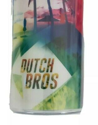 RARE! Dutch Bros NEW Coffee Palm Trees Multi Color Tumbler Cold Cup 24oz w/Straw