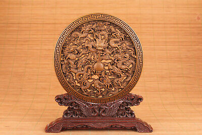 Chinese old boxwood hand carved dragon statue plate collectable
