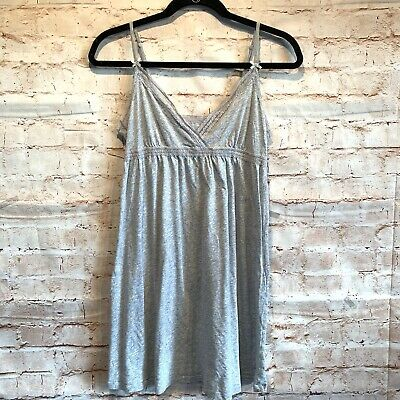Aerie babydoll nightgown sz L heather grey adjustable straps v neck lace detail