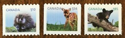 CANADA  2013 #s 2608i-10i BABY WILDLIFE DEFINITIVE- 3 BOOKLET DIE CUT STAMPS MNH