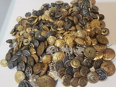 150+ Antique Vintage Button Lot BRASS COPPER MILITARY ANCHORS GOLD SILVER TONE