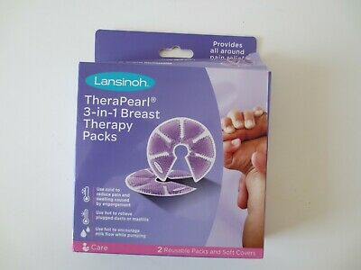 Lansinoh TheraPearl 3-in-1 Hot or Cold Breast Therapy Pack with Covers, 1 Pair