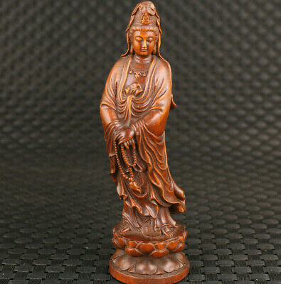 Bless chinese old boxwood hand carved kwan-yin buddha figure statue hand piece