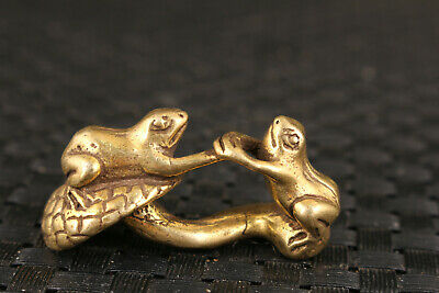 Chinese brass hand cast frog statue fengshui ornament netsuke