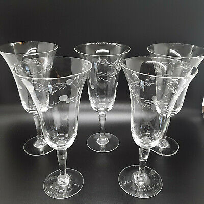 Fluted Hand Blown Crystal Wine Glasses,Vintage,(5) Cut Glass Design,Thin Walled