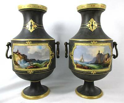 Pair Old Paris Hand-Painted Seascape Brass Handled Vases