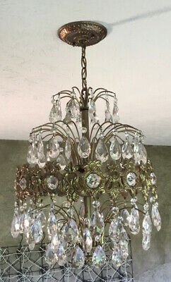 Vintage Hollywood Regency waterfall Tole brass chandelier with lots of crystals
