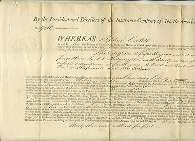 "1800 Insurance Company Of North America Policy For ""Liberty"" Cargo To Carthagena"