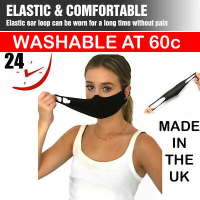 Protective Black Face Mask Breathable Anti-allergic Mouth Washable Protection