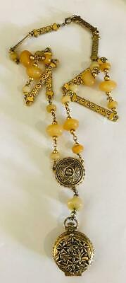 "Vintage 1970s ""CHUNKY BEADED~ SOLID PERFUME COMPACT NECKLACE"""