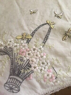 Beautiful Antique / Vintage Embroidered Floral baskets bees lace trim #B