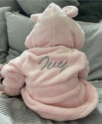 Babys Personalised Dressing Gown 0-6 Months White