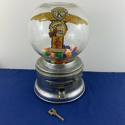 Vintage Original FORD 1 Cent Gumball Machine. Fully Functional with Key
