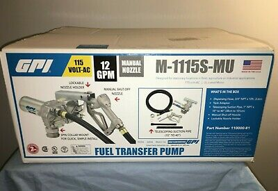 Sealed GPI M-1115S-MU Fuel Transfer Pump w Manual Shut Off Nozzle 12GPM 115V AC