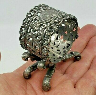 Old Victorian Silver Plate Napkin Ring Figural Ornate Pierced & Footed