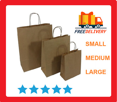 Brown Kraft Paper Bags With Twisted Handles Party Gift Shopper SOS Carrier Bag