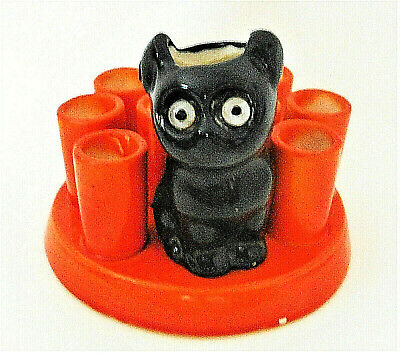 Vintage Ceramic Black Cat Match/Cigarette Holder Germany 1930's?  Halloween