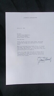 JAMES (Jimmy) STEWART SIGNED LETTER To Ex B-17 NAVIGATOR WWII + Supporting Docs