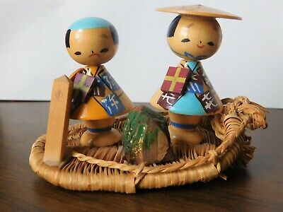 Vintage Japanese Kokeshi Wood Doll Story Scene 1 Happy 1 Sad Adventure on a Boat