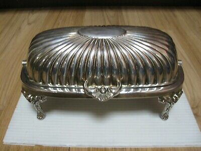 Antique SilverPlate Footed Hinged ROLL TOP Butter Dish Made in Sheffield England
