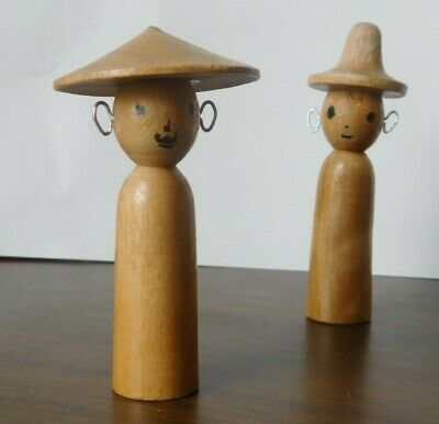 Lot of 2 Vintage Japanese Kokeshi Wood Doll Wood scrap dolls with Wire Ears