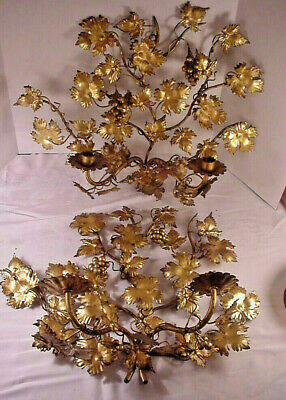 Antique Italian Metal Toleware Wall Sconce Candle Holders Grapes Large Pair