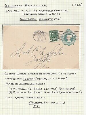 Canada 1922 Admiral Uprated Postal Stationery Cover Montreal To Joliette Quebec