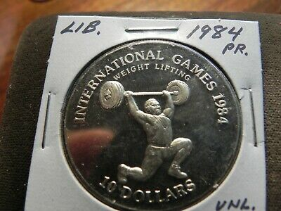 Liberia 1984 10 dollars proof coin