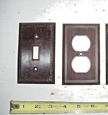 2 Old Vintage Fancy Bakelite Brown Light Switch Outlet Cover Plate Singles
