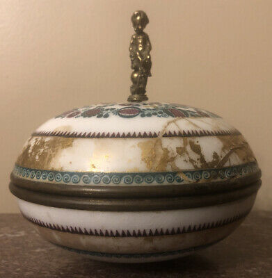 Antique Sevres France Royal Covered Candy Dish With Bronze Finial Circa 1790